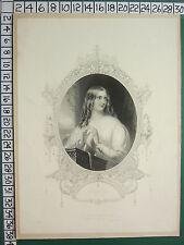1845 datato antico stampa ~ SANTA occhi