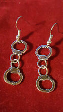 FUN Handcuff Earrings Full 3d Design Front Facing.Unusual Boho Hip Goth Emo Punk