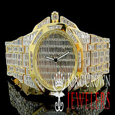 NEW YELLOW GOLD FINISH MENS ICED OUT LAB DIAMOND BLING MASTER CUSTOM SWISS WATCH