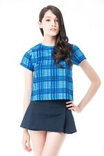 TBI The Blush Inc CATHLEEN PLAID TOP IN BLUE Size S