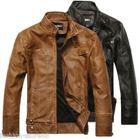 New Men's leather motorcycle coats jackets washed collar leather coat