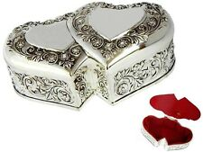 Musical  Jewellery Trinket Music Box Silver 2 Hearts Love Gift  Engravable 17cm