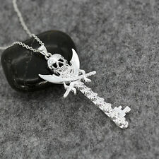 Punk Men Jewelry 925 Silver Skull Key Style Necklace Pendant