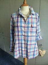ISLE RED WHITE & BLUE CHECK LONG SHIRT SIZE 20/18 COTTON TAB SLEEVES POCKETS