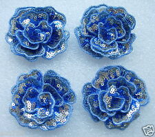 FW289 Layered 3D Flower Rose Sequined Applique Motif Blue Sew On Dress 4pcs