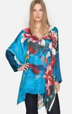 $245 NWT Johnny Was Water Lily Oversized Beads 100% Silk Kaftan Tunic Top M L XL