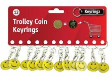 12 smile,smiley face shopping trolley coin token keyrings,Gym,swimming lockers