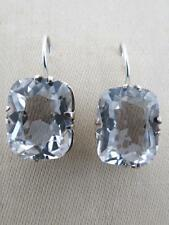 Vintage Silver Quartz Crystal Drop Earrings Russian