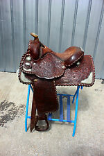 """44-4 Circle Y 15""""  show saddle with sterling silver corner plates super nice"""