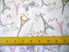 Waverly Fabric Eiffel Towers Bikes flowers on Creamy White 4 Quilts Pillows