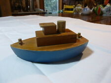 Vintage Wooden Toy Boat Blue Hull
