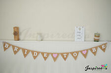 Bride To Be Hessian Bunting Rustic Burlap Banner Wedding Pink Hearts White Lace