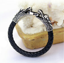 Gothic Men Genuine Leather Stainless Steel Casting double dragon Bracelet Bangle