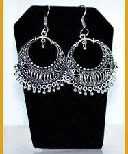 Silver Metal Round Hoop Dangle Earrings hook Handmade fashion Jewelry India