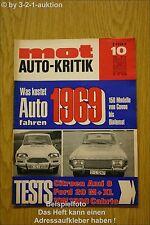MOT 10/69 Ford 20 M VW Cabrio BMW 2500 Kombi Ami 8