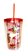Iris Unicorn Sipper Cup With Straw & Lid, for Soft drinks/ girls / ladies ~ 9064