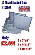 15 Mixed Mailing Bags Strong Grey Plastic Poly Postal Envelopes Self Seal A3