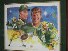 Bart Star-Brett Favre Sigrature Series-Packers Hall Of Fame Painting 1996 Sweet!