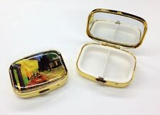 """Pill Box -""""Cafe Terrace at Night""""- Metal, 2-compartment, mirrored interior lid"""