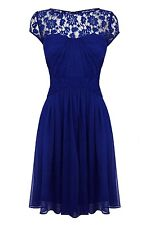 Coast Lisanne Dress with Lace Top, Cobalt Blue, 8 - 10 UK, RRP £145 - Beautiful