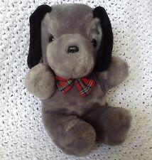 """Vintage 1982 America Wego Plush Grey Black Puppy Dog Red Plaid Bowtie 9"""" Sitting"""