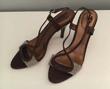 J Crew Collection Brown Leather And Tweed Cross Strap Heels Pumps Size 8