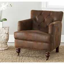 Safavieh Manchester Antiqued Brown Club Chair Seat Home Decor Accent Furniture