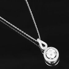 "Solitaire Tear Drop Pendant 925 Silver White Gold Finish Cubic Zircon 18"" Chain"