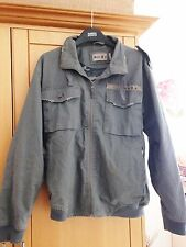 Men's casual grey coat / jacket army distressed style 100% cotton, size L