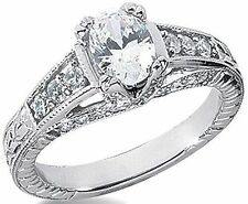 1.45 carat total, 1 ct OVAL NATURAL DIAMOND Solitaire 14K White Gold Ring, G SI