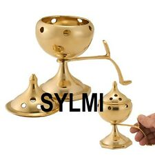 """PURE Solid BRASS INCENSE BURNER With Handle: Stick/Cone/Resin/Charcoal/Smudge 6"""""""