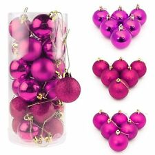 24PCS Christmas Glitter Tree Ball Bauble Hanging Party Xmas Ornament Decoration