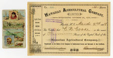 Hawaiian Agricultural Co., 1899 Stock Certificate. Lot 1617