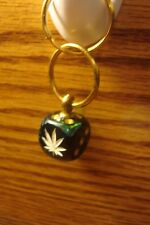 "1 one Cannabis-MARIJUANA Leaf Image Die / Dice 1""in. Key Ring Green-Blue Vortex"