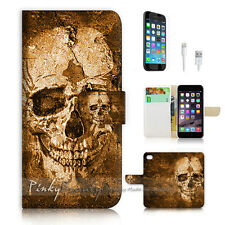 iPhone 7 PLUS (5.5') Flip Wallet Case Cover P0800 Skull