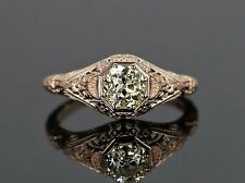GIA 14K Rose Gold Old Mine Cut .71ct Yellow Diamond Vintage Look Engagement Ring