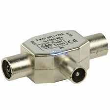 TV Aerial Metal Coax Signal Splitter - 2 Way 1 male to 2 female for Coaxial Lead