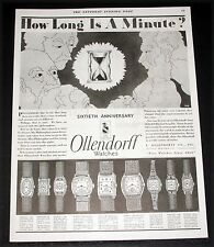 1928 OLD MAGAZINE PRINT AD, OLLENDORF 60TH ANNV. WATCHES, HOW LONG IS A MINUTE!