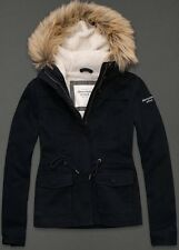 NWT Abercrombie & Fitch Womens Navy Sherpa Lined Fur Hooded Twill Jacket ~ M