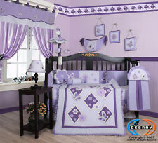14PCS Lavender Butterfly Baby Nursery CRIB BEDDING SET - Including Lamp Shade