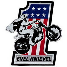 EVEL KNIEVEL SIGN MOTORCYCLE RIDER EMBOSSED METAL Make America Great Again