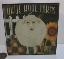 "Sheep Lamb Small Wall Box Picture ""White Wool Farms"" Sunflower Picket Fence"