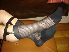 2 P Chaussettes nylon transparent socks sheer noir V07 T-41/44 plante renforcées