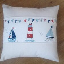 "Fryetts Blue Boats Beachhuts Seaside Fabric Panel Scatter Cushion Covers 16""x16"""