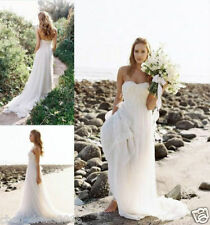 Beach Chiffon Strapless Train Wedding Dresses Formal Sheath Bridal Gowns Custom+