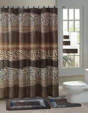 Zambia Safari 15-Piece Bathroom Accessory Set 2 Bath Mats Shower Curtain Leopard