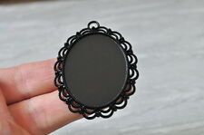 5pcs 40x30mm Pad Black Plated Oval Base Setting Cameo Charm Pendant Cabochon