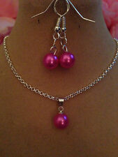 """STERLING SILVER NECKLACE18""""&925 EARINGS,PEARL pink/BOXED"""