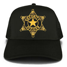 Security Officer Star Embroidered Iron on Patch Adjustable Mesh Trucker Cap
