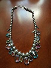 Vintage Kirks Folly Necklace Silver Plated Bead Bezel Crystals